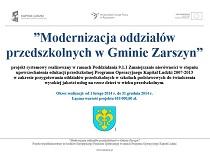 Modernizacja oddziałów przedszkolnych wGminie Zarszyn